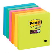 3M SUPER STICKY COLOURED POST IT NOTES 76MM X 76MM