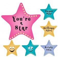 AVERY MERIT STICKER - WOW STARS METALLIC 50'S