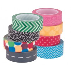 WASHI TAPES PKT 8 ASSORTED