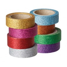 WASHI TAPES PKT 8 ASSORTED GLITTER