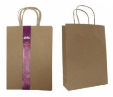 KRAFT PAPER BAGS WITH HANDLE - MEDIUM - PKT 3