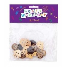 NATURAL BUTTONS - ASSORTED - 24'S