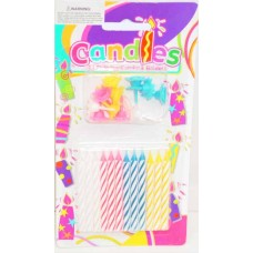 COLOURED CANDLES - 6CM - 12'S
