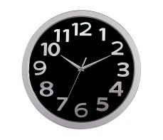 WALL CLOCK 330MM SILVER RIM BLACK FACE
