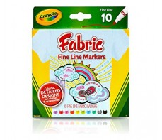 CRAYOLA FINELINE FABRIC MARKERS 10'S