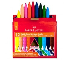 FABER CASTELL JUMBO ERASABLE CRAYONS 12'S WITH SHARPENER/ERASER