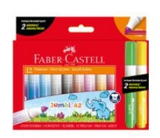 FABER CASTELL JUMBO MARKERS 12'S (INCL 2 NEON)