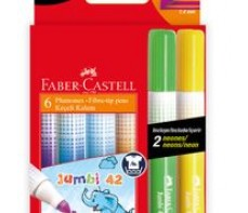 FABER CASTELL JUMBO MARKERS 6'S (INCL 2 NEON)