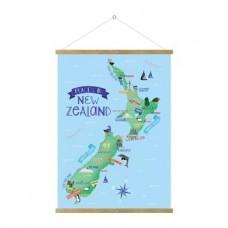 NZ MAP HANGING POSTER - ENGLISH NAMES