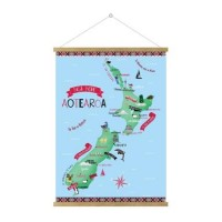 NZ MAP HANGING POSTER - MAORI NAMES