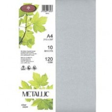 METALLIC PAPER A4 120GSM - 10 Pack SILVER