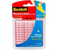 SCOTCH RESTICKABLE MOUNTING TABS 25MM X 25MM, 18 PKT