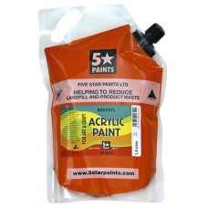 FIVE STAR NZACRYL ACRYLIC PAINT POUCH 1.5L - ORANGE