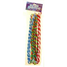 CANDY STRIPE PIPE CLEANERS - 30CM - 15'S