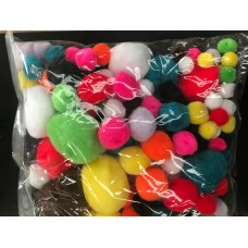 POM POMS - ASSORTED - 150'S -  ( INCLUDING LARGE)