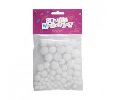 POM POMS GLITTER WHITE PKT 62 ASSORTED SIZES