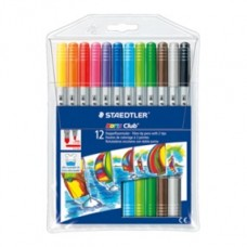 STAEDTLER DOUBLE ENDED FIBRE TIP PENS 12'S