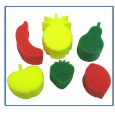 FRUIT SPONGES - 6'S