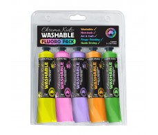 Chroma Kidz Washable Fluoro Paint 5 X 75ml Set