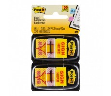 POST IT FLAGS, 680 SIGN HERE, 25MM X 43MM (2 PACK)
